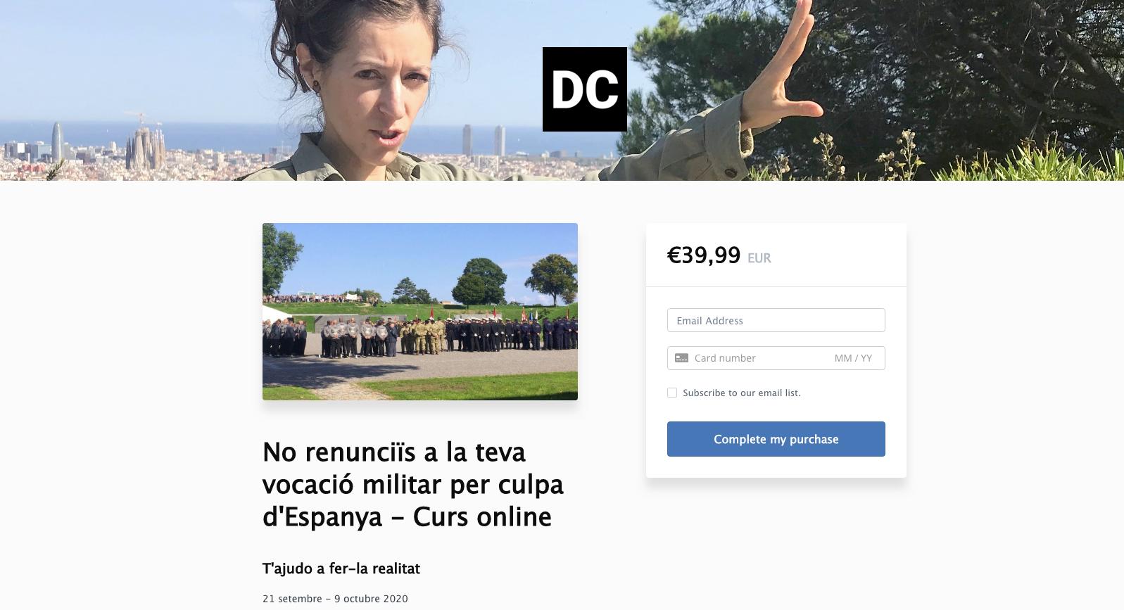 Plana web d'inscripció al curs de Diana Coromines