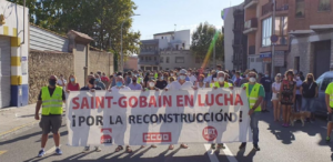 Manifestació dels treballadors de Saint-Gobain