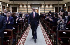 Felip VI, en el acto de entrega de los despachos a los nuevos jueces celebrado en Madrid en 2019
