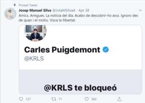 Missatge de bloqueig del perfil de twitter de Carles Puigdemont