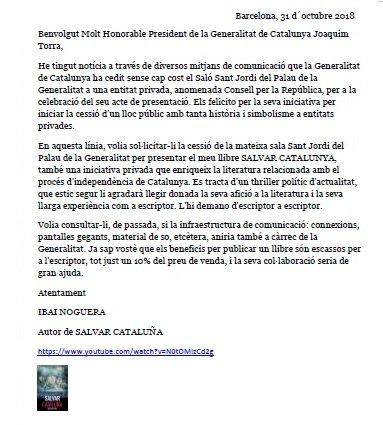 Carta a d'Ibai Noguera a Quim Torra