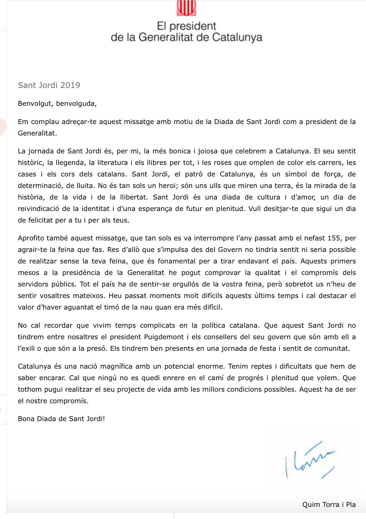 Carta de Quim Torra a los funcionarios por Sant Jordi