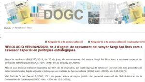 Anunci al DOG del cessament de Sergi Sol com assessor de Pere Aragonè