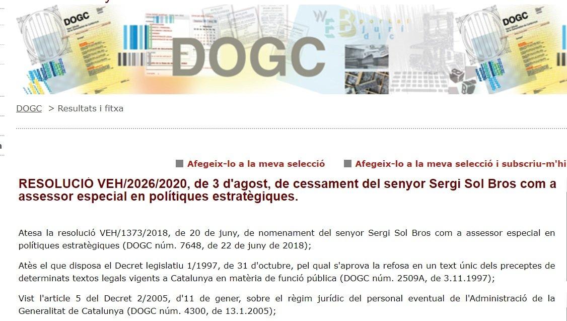 Anuncio en el DOG del cese de Sergi Sol como asesor de Pere Aragonè