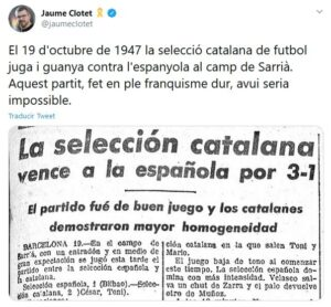 El tuit de Clotet sobre un España-Cataluña de 1947
