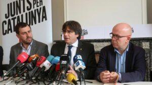 Toni Comín, Carles Puigdemont i l'advocat Gonzalo Boye (imatge d'arxiu)