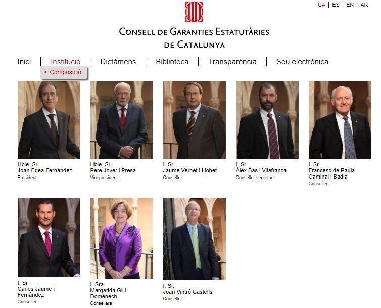 Los miembros del Consejo de Garantías Estatutarias de Catalunya