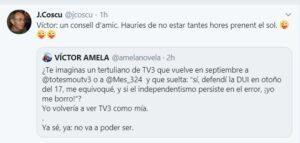 Tuit de Joan Coscubiela comentando un mensaje de Víctor Amela