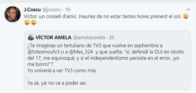 Piulada de Joan Coscubiela comentant un missatge de Víctor Amela