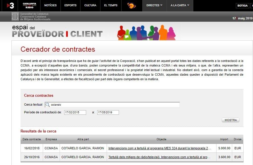 Impresión de la pantalla del portal de Transparencia de la CCMA donde
