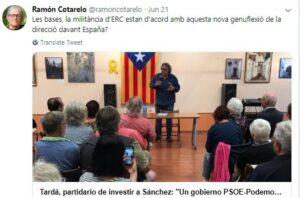 Mensaje de Ramon Cotarelo contra Joan Tardà en twitter