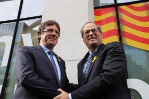 Carles Puigdemont con Quim Torra, en Bruselas