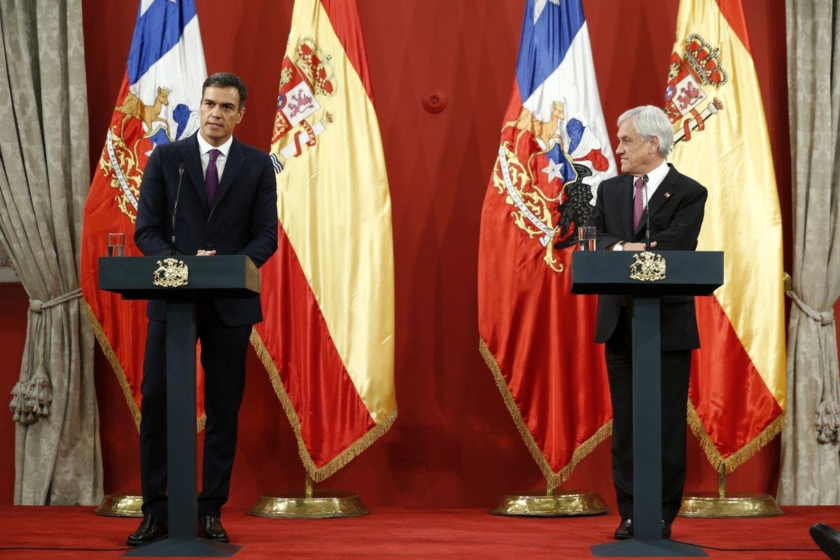 Pedro Sánchez y Sebastián Piñera, presidente de Chile.