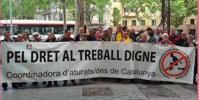 Manifestación reclamando derecho al trabajo
