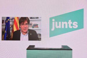 Intervención de Puigdemont en un acto de Junts
