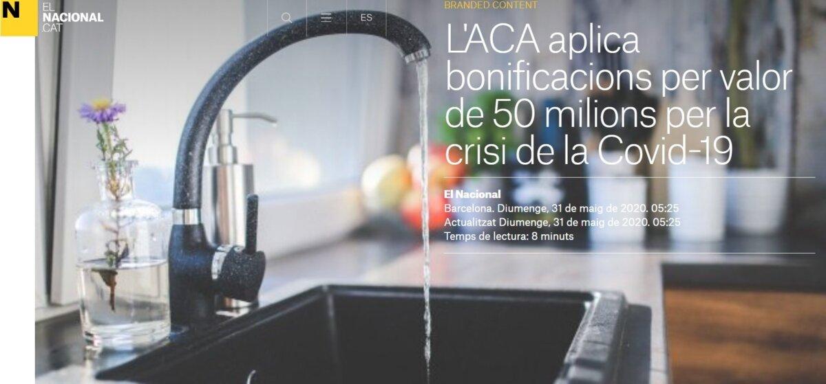 Artículo de 'El Nacional' financiado por la Agencia Catalana del Agua