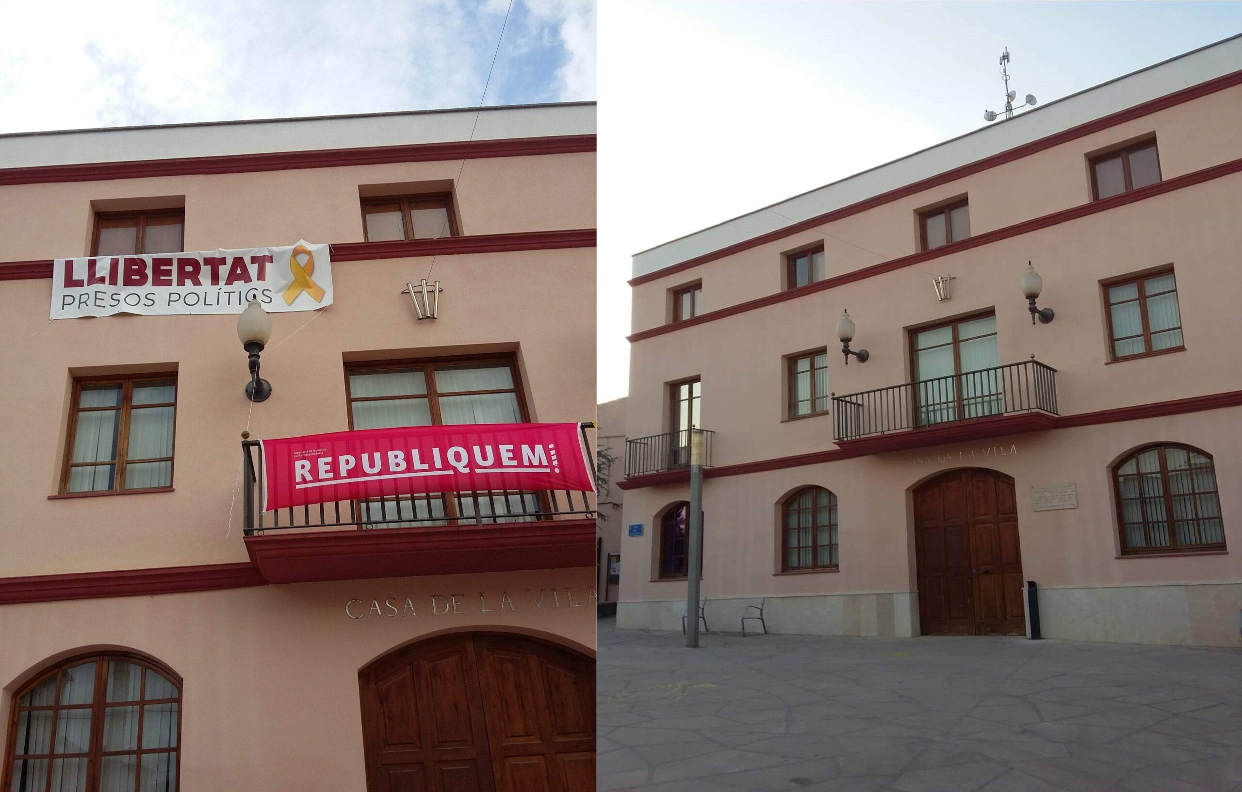 Ayuntamiento del Pla del Penedès, antes y después de quitar las panca