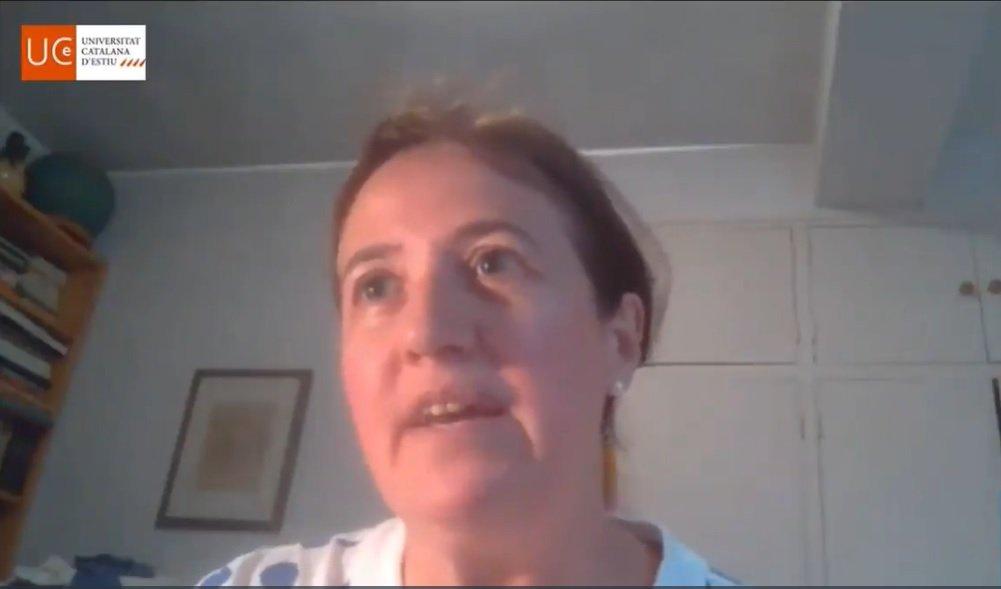 Elisenda Paluzié, en la conferencia 'on line' de la UCE de Prada