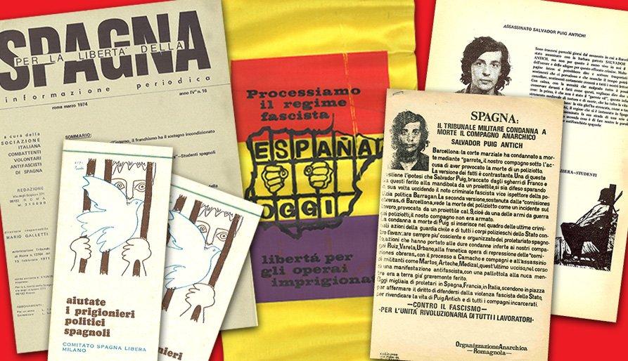 Documentos y pasquines contra la ejecución de Salvador Puig Antich