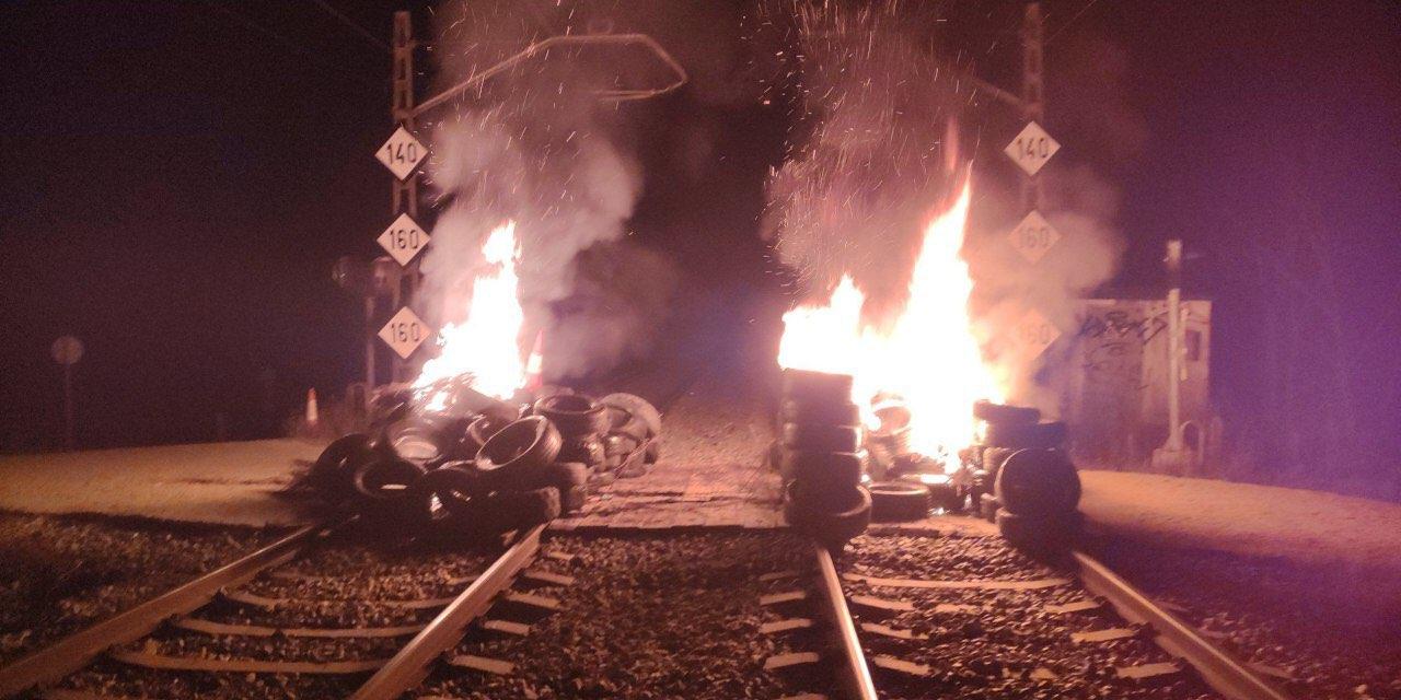 Vías del tren a la altura de Riudellots de la Selva