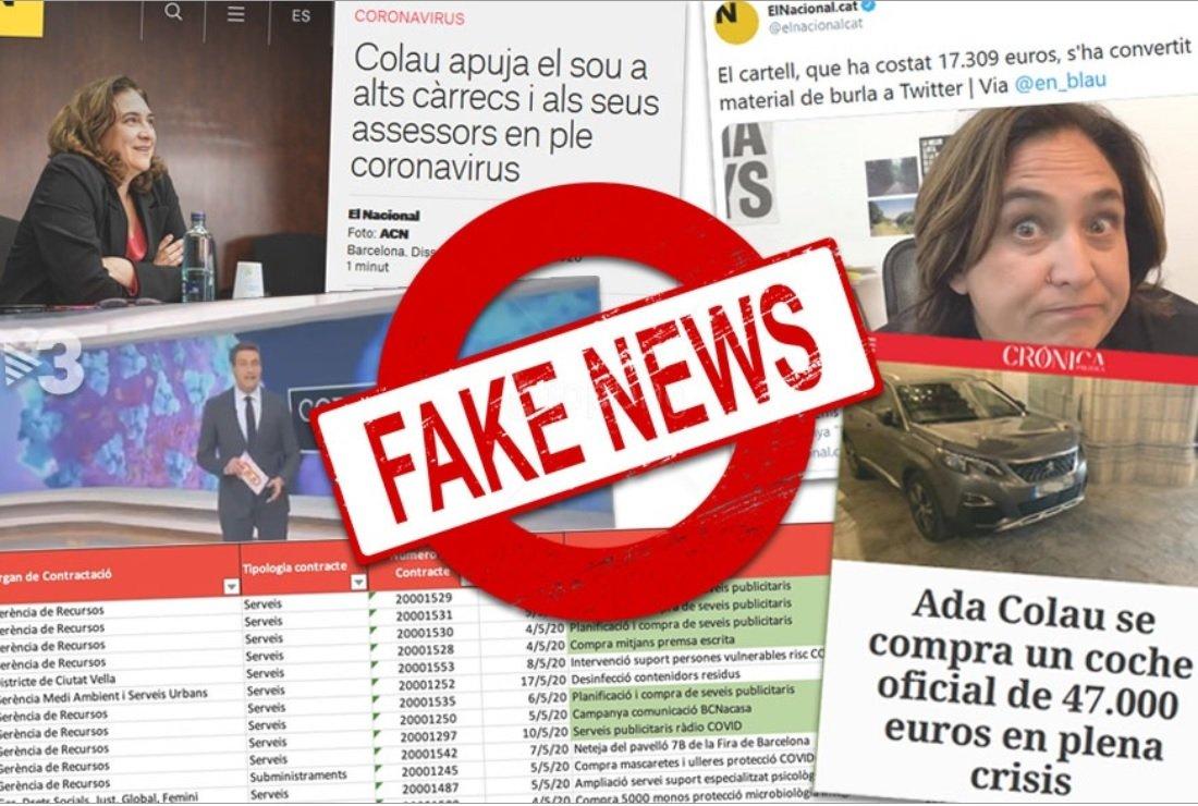 Montaje con 'fake news' contra Ada Colau