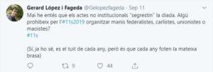 Tuit de Gerard López sobre els partits i la Diada