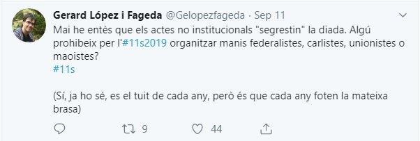 Tuit de Gerard López sobre los partidos y la Diada