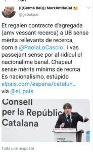Piulada de Germà Bel contra Paola Lo Cascio
