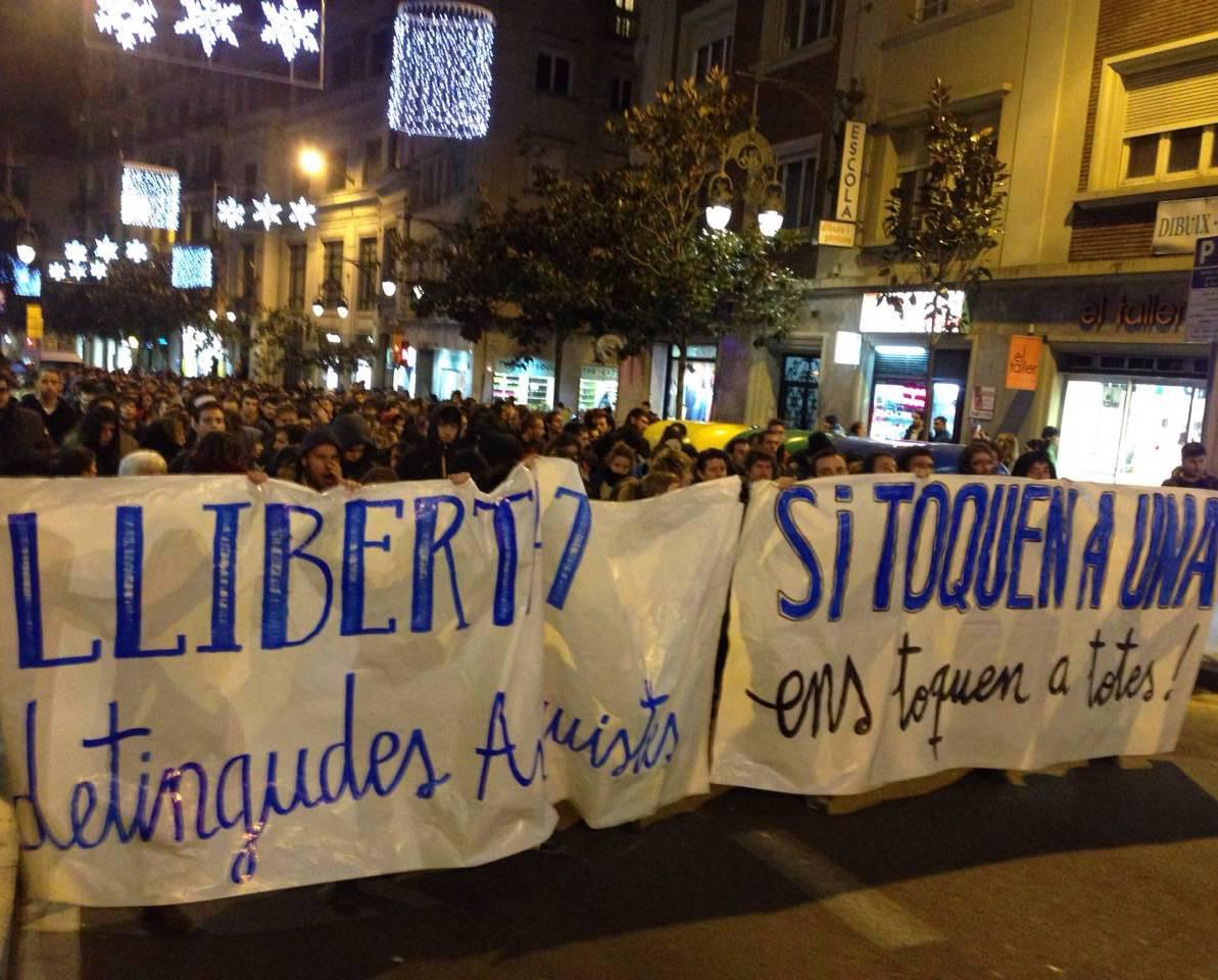 Manifestació contra l'Operació Pandora, aquest dimarts a Gràcia