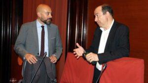 Los directores de Catalunya Ràdio, Saül Gordillo, y de TV3, Vicent Sanchis,