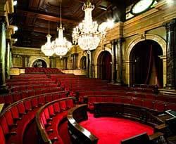 Una imatge de l'hemicicle buit del Parlament de Catalunya