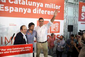 Miquel Iceta, Carles Castillo i Pedro Sánchez, en un acte del PSC