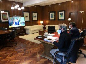 El ministro Salvador Illa y el director del CCAES, Fernando Simón, en una reunión telemática con el ministro italiano Roberto Speranza