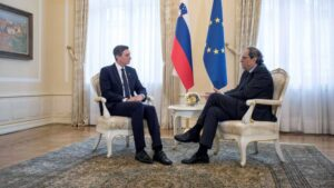 El presidente Quim Tuesta con el de Eslovenia