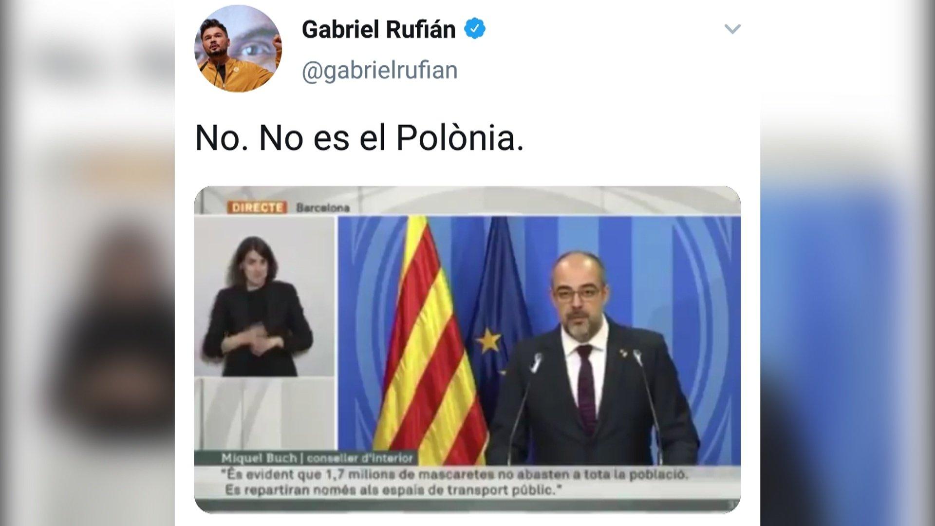 El tuit de Rufián