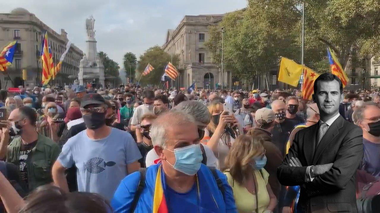Protestas contra la presencia de Felipe VI
