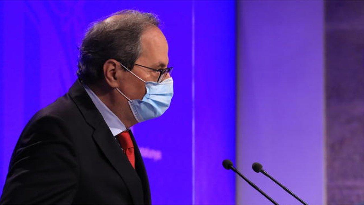 Quim Torra, presidente de la Generalitat, en una rueda de prensa