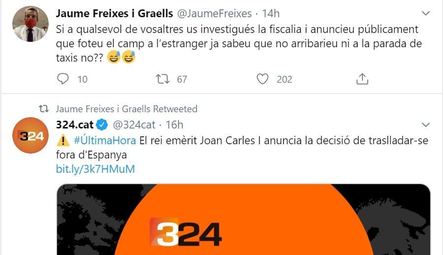 Tuit de Jaume Freixes opinando sobre el anuncio del rey emérito Juan Carl