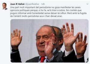 Tuit del periodista de TV3 Joan R.Vallvé demanant moderació als seus