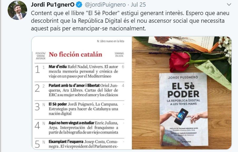 Jordi Puigneró vincula 'ascensor social' i 'emancipació nacional'