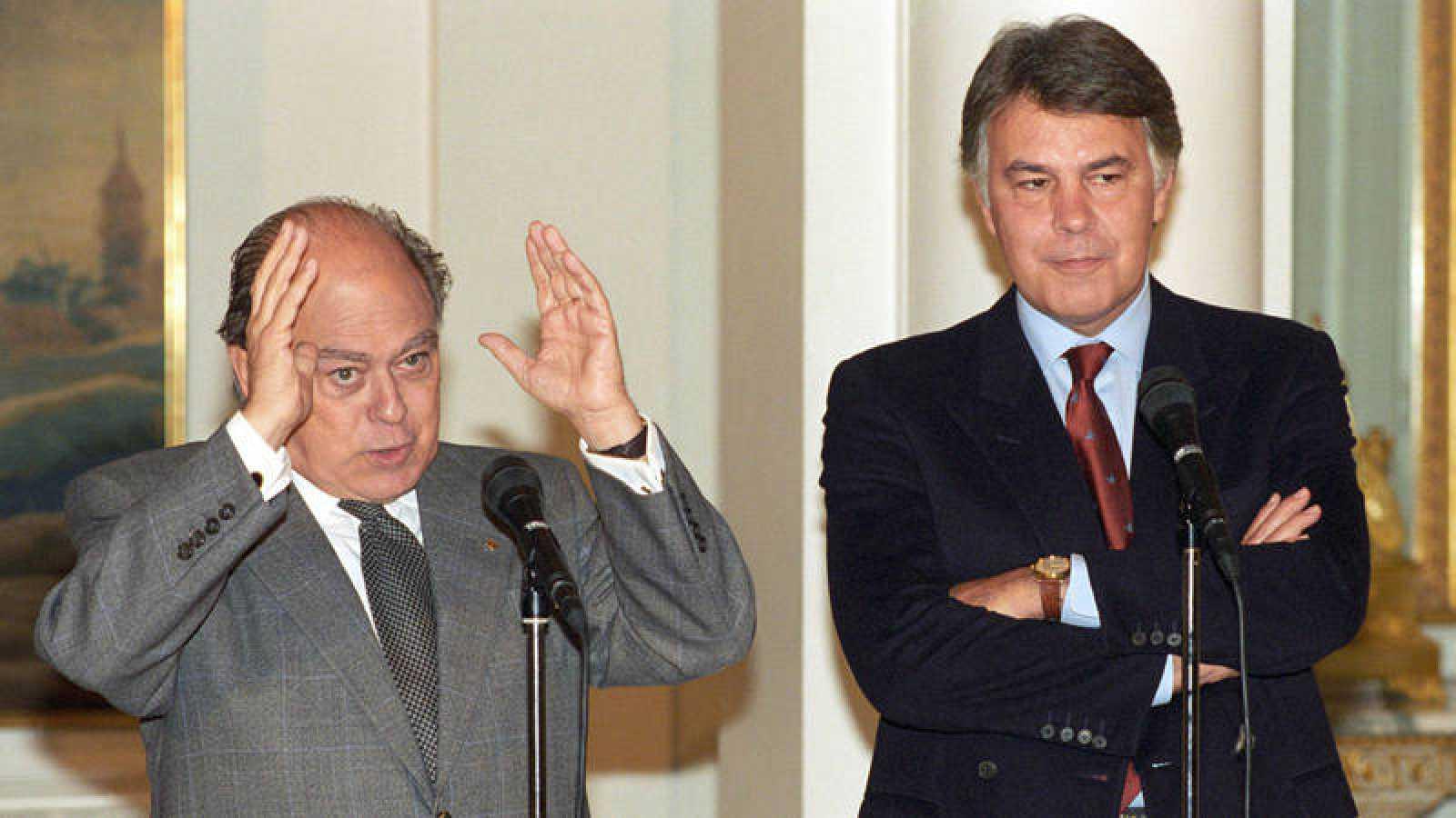 Jordi Pujol y Felipe González, en una rueda de prensa conjunta en 1994