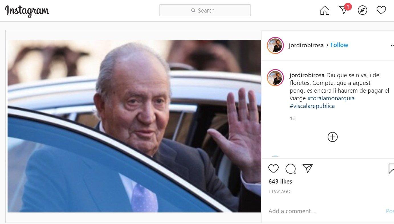 Mensaje en Instagram del periodista de TV3 Jordi Robirosa en que califica