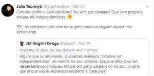Tuit de Júlia Taurinyà criticant les tesis de Josep Maria Virgili