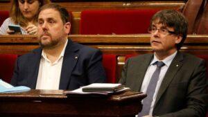 Oriol Junqueras i Carles Puigdemont, al Parlament de Catalunya