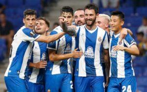 L'Espanyol, celebrant un gol en un partit