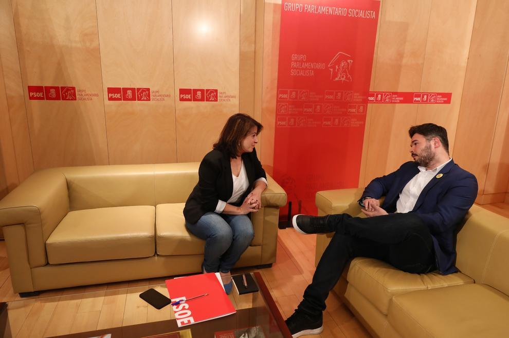Reunión de Gabriel Rufián con Adriana Lastra, del PSOE