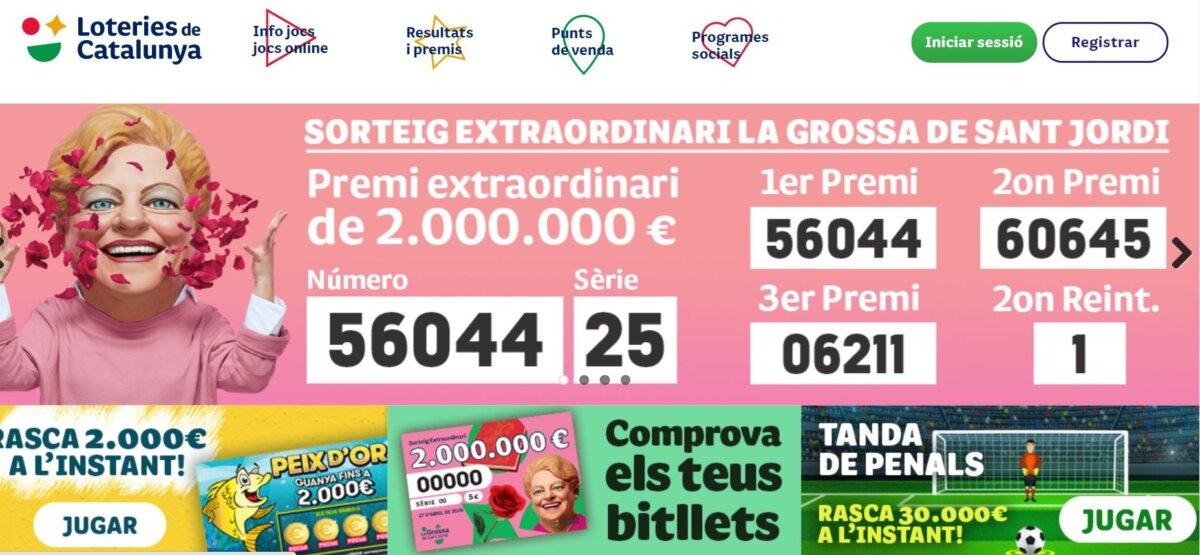 Pàgina inicial de la web de Loteries de Catalunya