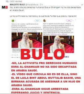 Maldito bulo denuncia la falsedat de la decapitació d'Esra Al-Ghamgam