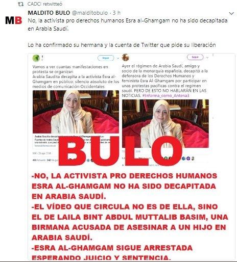Maldito bulo denuncia la falsedad de la decapitación de Esra Al-Ghamgam