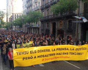 Manifestació de l'assemblea encausats pel Parlament